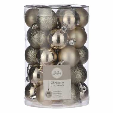 Plastic 34x kunststof kerstballen licht champagne 4 cm