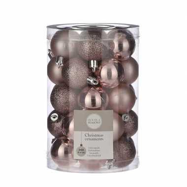 Plastic 34x kunststof kerstballen lichtroze 4 cm