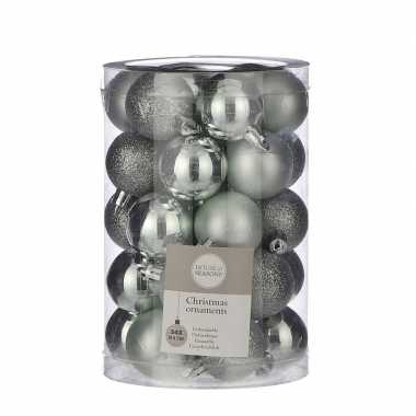 Plastic 34x kunststof kerstballen mint 4 cm
