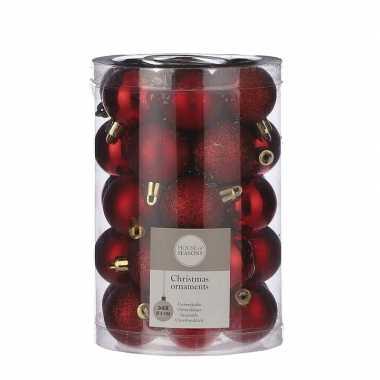 Plastic 34x kunststof kerstballen rood 4 cm
