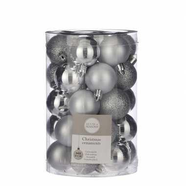 Plastic 34x kunststof kerstballen zilver 4 cm
