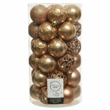 Plastic 37x camel bruine kerstballen 6 cm kunststof mix