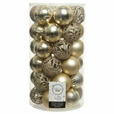 Plastic 37x champagne beige kerstballen 6 cm kunststof mix