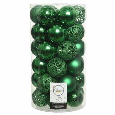 Plastic 37x kerstgroene kerstballen 6 cm kunststof mix