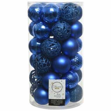 Plastic 37x kobalt blauwe kerstballen 6 cm kunststof mix
