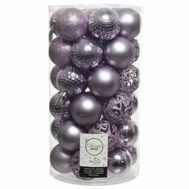 Plastic 37x lila paarse kerstballen 6 cm kunststof mix