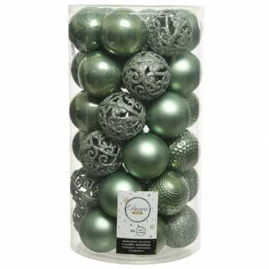 Plastic 37x salie groene kerstballen 6 cm kunststof mix