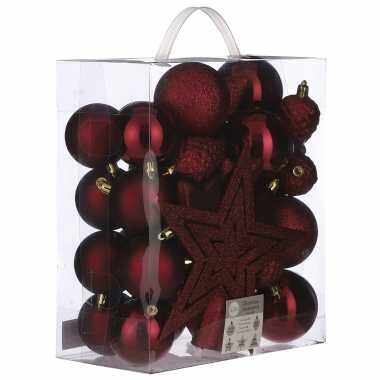 Plastic 39x kunststof kerstballen 8 cm met ster piek donkerrood