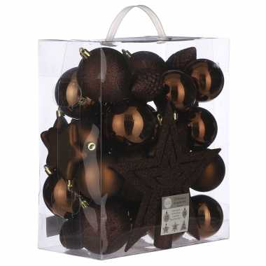 Plastic 39x kunststof kerstballen 8 cm met ster piek kastanje bruin
