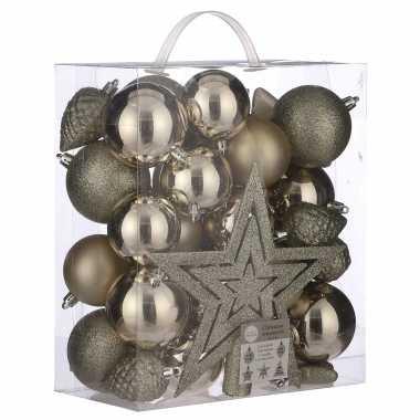 Plastic 39x kunststof kerstballen 8 cm met ster piek licht champagne