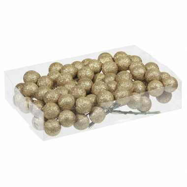Plastic 80x gouden glitter mini kerstballen stekers kunststof 3 cm