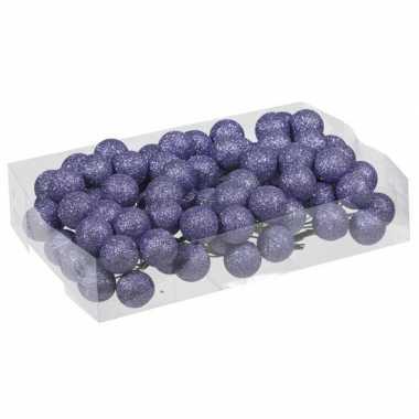 Plastic 80x paarse glitter mini kerstballen stekers kunststof 3 cm