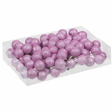Plastic 80x roze glitter mini kerstballen stekers kunststof 3 cm
