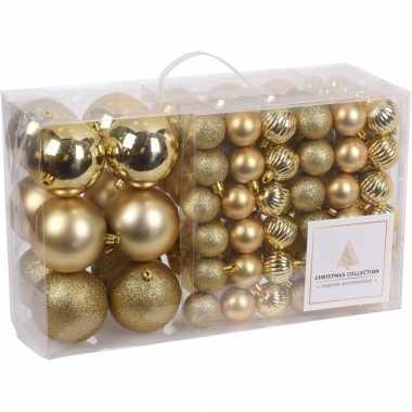 Plastic 94 delige kerstboomversiering kunststof kerstballen set goud