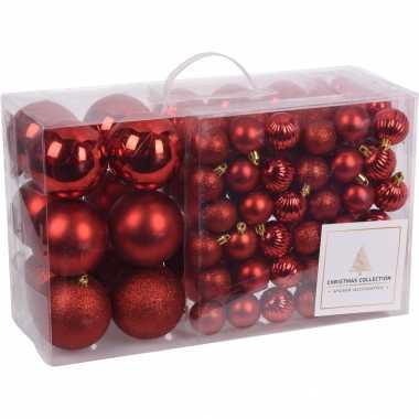 Plastic 94 delige kerstboomversiering kunststof kerstballen set rood