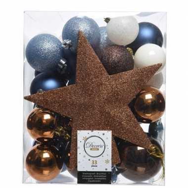 Plastic blauw/bruin/wit kerstballen pakket met piek 33 stuks