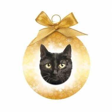Plastic dieren/huisdieren kerstballen kerstbal zwarte kat/poes 8 cm