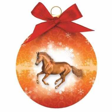 Plastic dieren kerstballen paard oranje