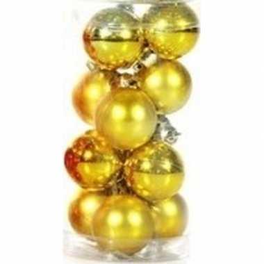 Plastic gouden kerstballen 12 stuks 3 cm