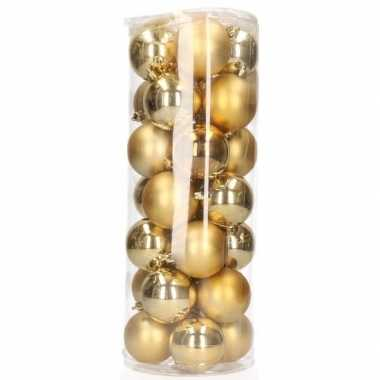 Plastic gouden kerstballen 28 stuks 6 cm
