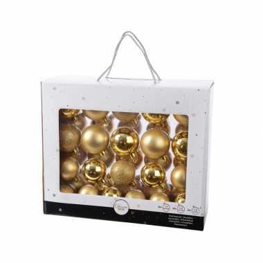 Plastic gouden kerstversiering kerstballen set 42 delig van kunststof