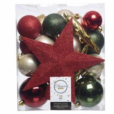 Plastic groen/goud/rood kerstballen pakket met piek 33 stuks