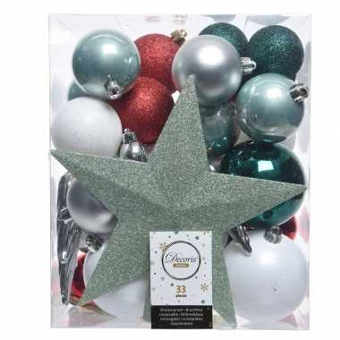 Plastic groen/zilver/wit kerstballen pakket met piek 33 stuks