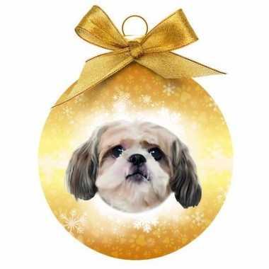 Plastic huisdieren kerstballen honden shih tzu