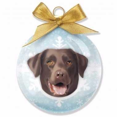 Plastic huisdieren kerstballen hondjes labrador chocolate