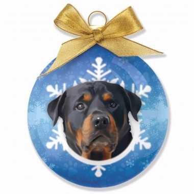 Plastic huisdieren kerstballen hondjes rottweiler