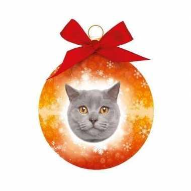 Plastic huisdieren kerstballen katje grijze britse korthaar