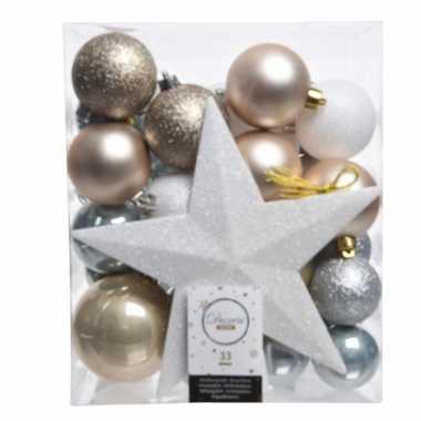 Plastic ijsblauw/goud/wit kerstballen pakket met piek 33 stuks