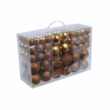 Plastic kerstballen brons 100 x