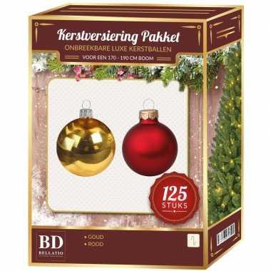Plastic kerstballen en piek set 125 dlg kunststof 180 cm boom rood/goud