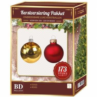 Plastic kerstballen en piek set 173 dlg kunststof 210 cm boom rood/goud