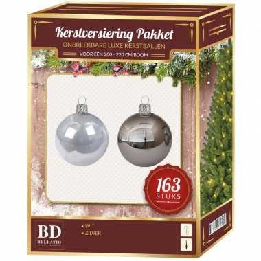 Plastic kerstballen en piek set kunststof 163 dlg 210 cm boom zilver/wit