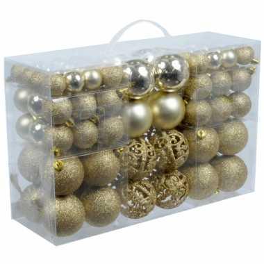 Plastic kerstballen goud 100 x