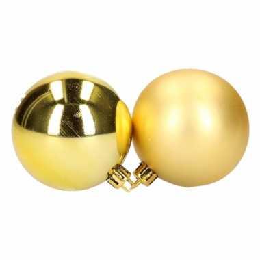 Plastic kerstballen set goud 6 cm 12 stuks