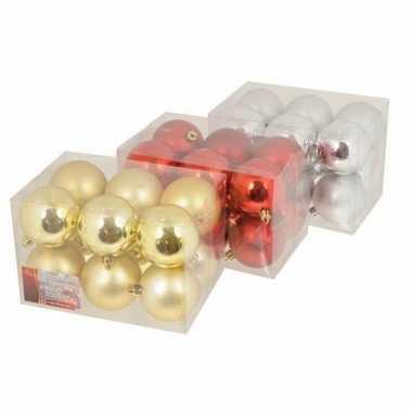 Plastic kerstballen set rood 6 cm 12 stuks