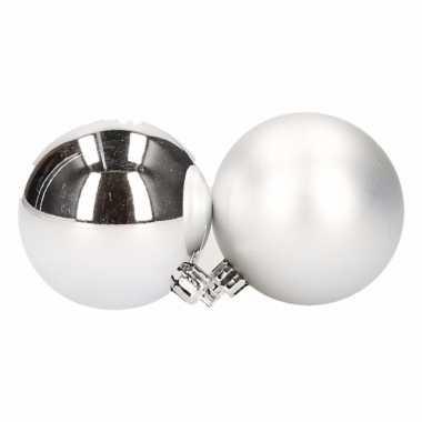 Plastic kerstballen set zilver 6 cm 12 stuks