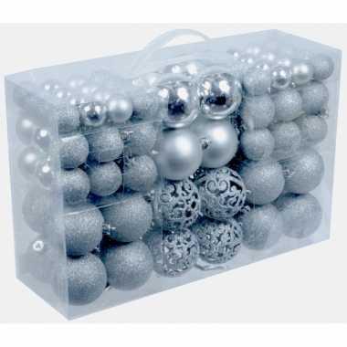 Plastic kerstballen zilver 100 x