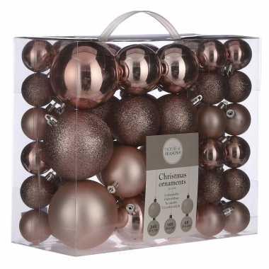 Plastic kerstballenpakket 46x lichtroze kunststof kerstballen mix