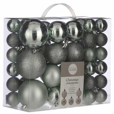 Plastic kerstballenpakket 46x mintgroene kunststof kerstballen mix