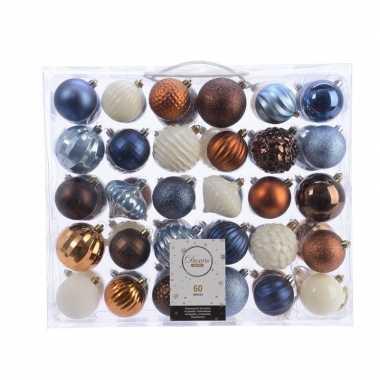 Plastic kerstversiering kerstballen set blauw/ bruin en wit 60 delig