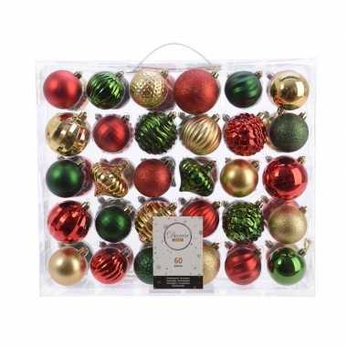 Plastic kerstversiering kerstballen set dennen groen/ goud/rood 60 de