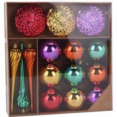 Plastic kerstversiering kerstballen set goud/paars/rood en groen