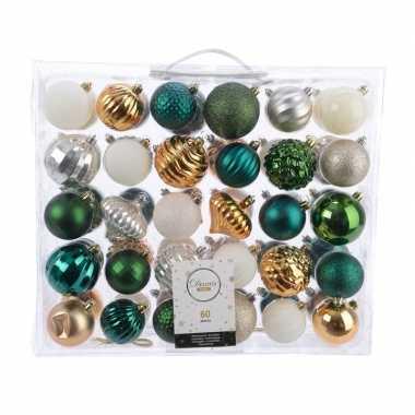 Plastic kerstversiering kerstballen set groen/goud/ zilver/ wit 60 de