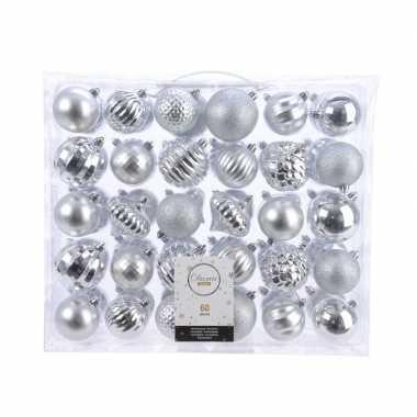 Plastic kerstversiering kerstballen set zilver 60 delig kunststof
