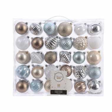 Plastic kerstversiering kerstballen set zilver/champagne/blauw/bruin