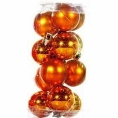 Plastic oranje kerstballen 12 stuks 3 cm